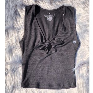AEO Cropped Tie front Top
